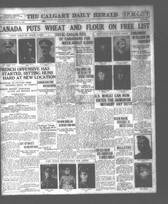 Newspaper clipping– Newspaper Article from The Calgary Daily Herald