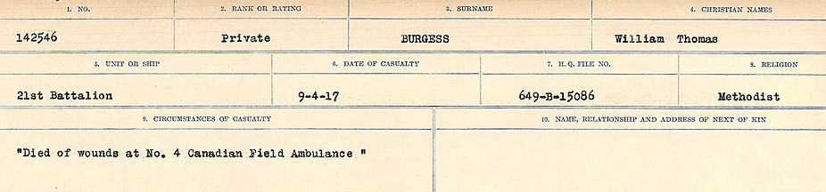 Circumstances of Death Registers– Source: Library and Archives Canada.  CIRCUMSTANCES OF DEATH REGISTERS, FIRST WORLD WAR Surnames:  Burbank to Bytheway. Microform Sequence 16; Volume Number 31829_B016725. Reference RG150, 1992-93/314, 160.  Page 147 of 926.