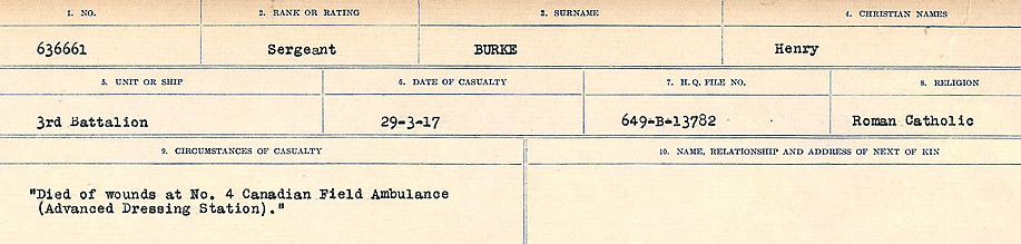 Circumstances of Death Registers– Source: Library and Archives Canada.  CIRCUMSTANCES OF DEATH REGISTERS, FIRST WORLD WAR Surnames:  Burbank to Bytheway. Microform Sequence 16; Volume Number 31829_B016725. Reference RG150, 1992-93/314, 160.  Page 187 of 926.