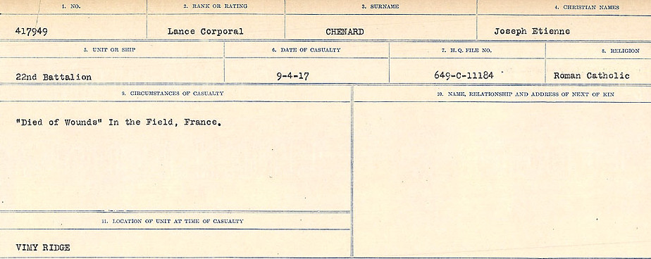 Circumstances of Death Registers– Source: Library and Archives Canada.  CIRCUMSTANCES OF DEATH REGISTERS, FIRST WORLD WAR Surnames:  Catchpole to Chignell. Microform Sequence 19; Volume Number 31829_B016728. Reference RG150, 1992-93/314, 165. Page 853 of 958.
