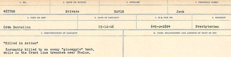 Circumstances of death registers– Source: Library and Archives Canada. CIRCUMSTANCES OF DEATH REGISTERS, FIRST WORLD WAR. Surnames: Dack to Dabate. Microform Sequence 26; Volume Number 31829_B016735. Reference RG150, 1992-93/314, 170. Page 1013 of 1140.