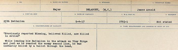 Circumstances of death registers– Source: Library and Archives Canada. CIRCUMSTANCES OF DEATH REGISTERS, FIRST WORLD WAR. Surnames: Davy to Detro. Microform Sequence 27; Volume Number 31829_B016736. Reference RG150, 1992-93/314, 171. Page 487 of 1036.