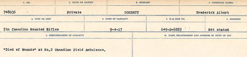 Circumstances of death registers– Source: Library and Archives Canada. CIRCUMSTANCES OF DEATH REGISTERS, FIRST WORLD WAR. Surnames: Deuel to Domoney. Microform Sequence 28; Volume Number 31829_B016737. Reference RG150, 1992-93/314, 172. Page 951 of 1084.