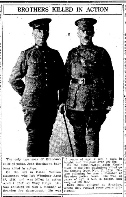 Newspaper Clipping– Manitoba Free Press, May 8, 1917
