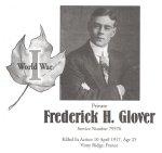 Page Commémoratif – Cet hommage rendu à Frederick Glover figure sur les page 65 à 66 du livret « Gananoque Remembers », publié le 31 janvier 2005.31 janvier 2005.