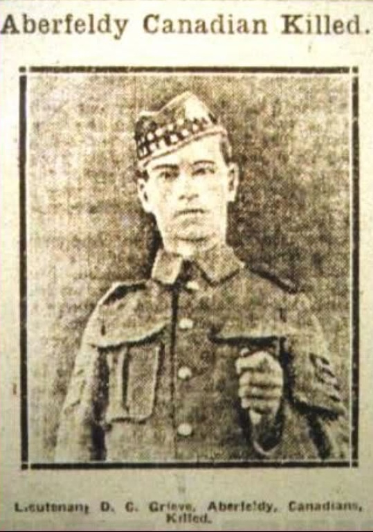 Newspaper clipping– Newspaper clipping of David Greive shown in an Aberfeldy area newspaper after his death.