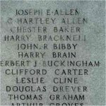 Inscription– WWI - Details of names carved upon the Burlington War Memorial.
