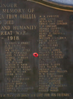 Cenotaph– Private Gilbert Neil McArthur is also commemorated on the WWI cenotaph in Orillia, ON … photo courtesy of Marg Liessens