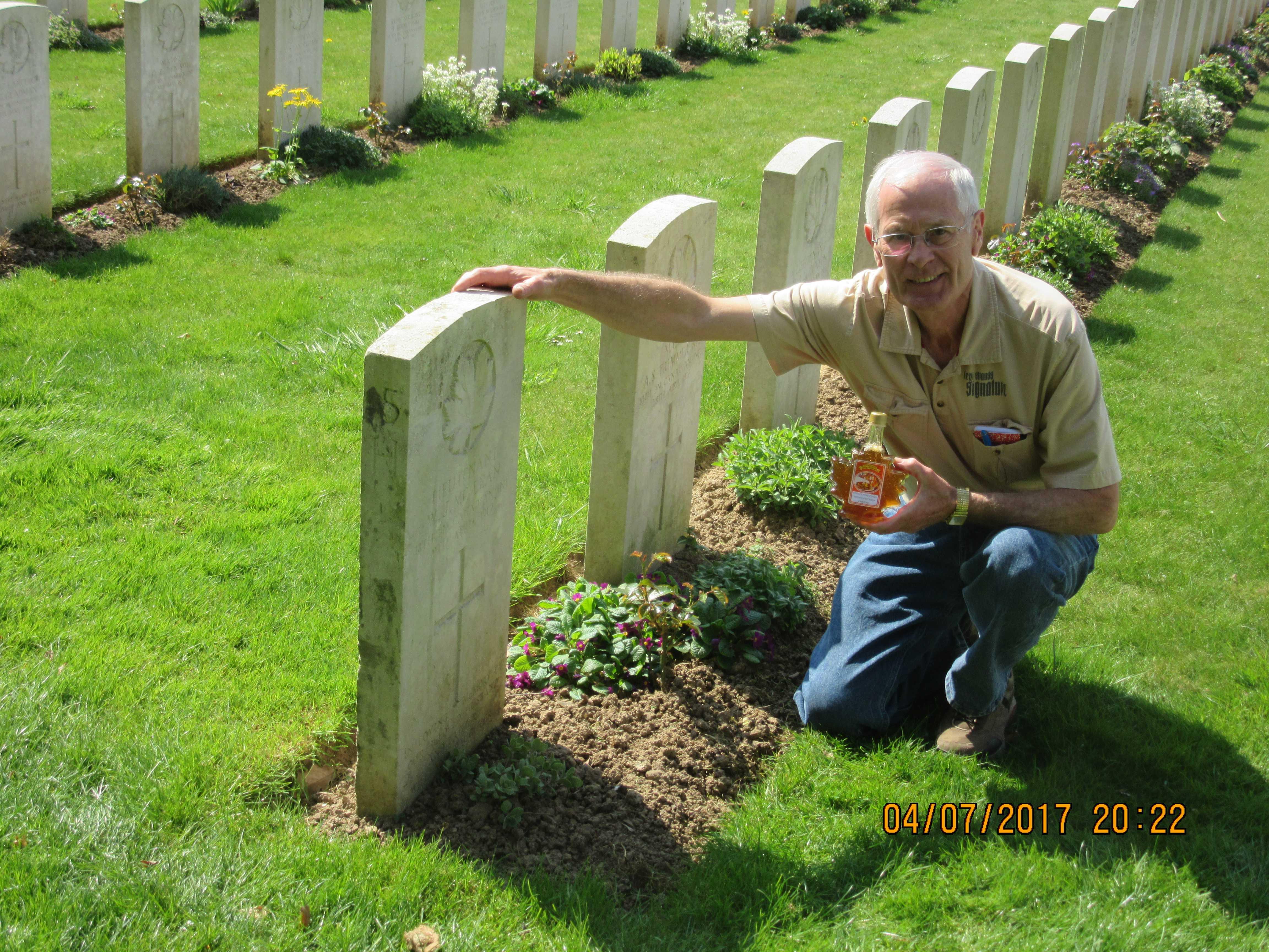Grave Marker– Tom Spence at Williams grave on April 8,2017