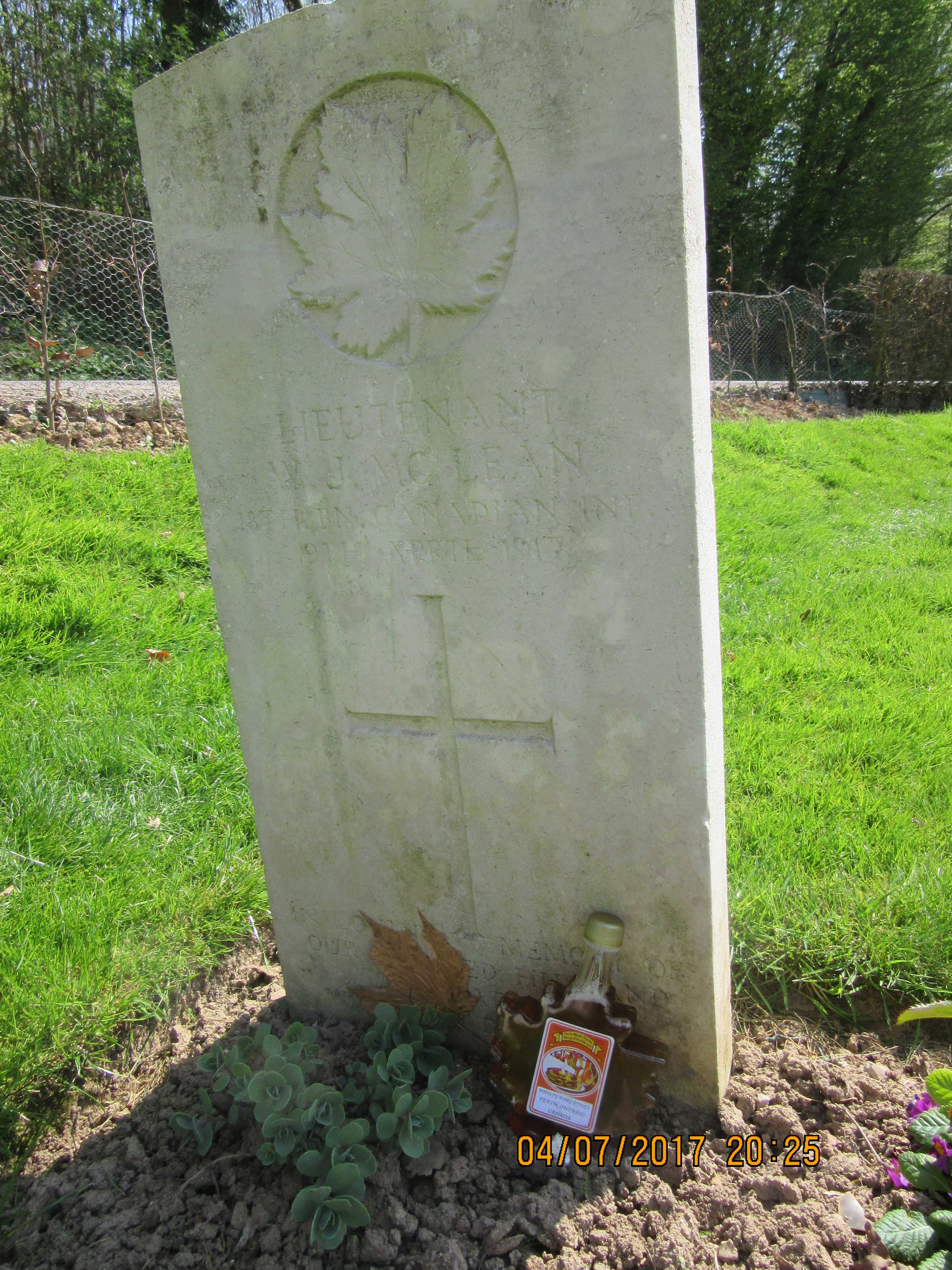 Grave Marker– William's headstone on April 8, 2017 with maple syrup from Perth and a maple leaf from his home.