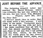 Newspaper Clipping 3– Last letter to his father, published in the Perth Courier for 18 May 1917.