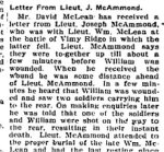 Newspaper Clipping 4– A letter about William McLean's death, published in the Perth Courier for 18 May 1917.