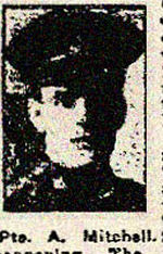 Newspaper Clipping– Pte. Albert Victor Mitchell was born in Halifax, Yorkshire, England.  He enlisted in Toronto in the 83rd Battalion on August 11th, 1915.  In honoured memory.