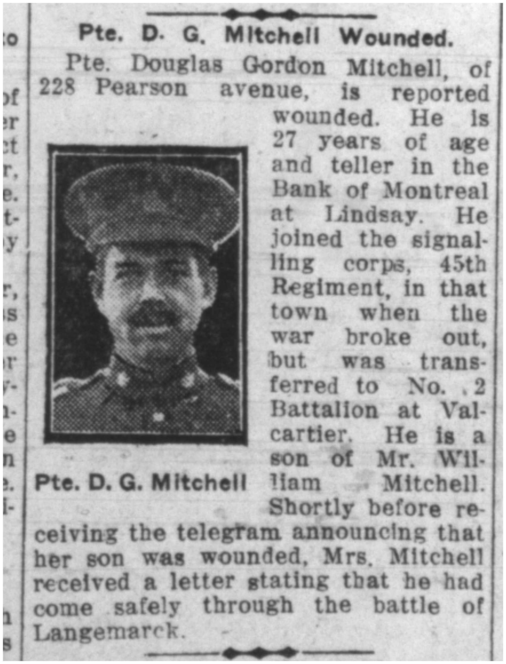 Newspaper clipping– From the Toronto Telegram June 1915. Submitted for the project Operation Picture Me