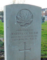 Grave Marker– Joshua Graham's grave marker.  He was a schoolmaster by profession and enlisted on 18th October 1914.