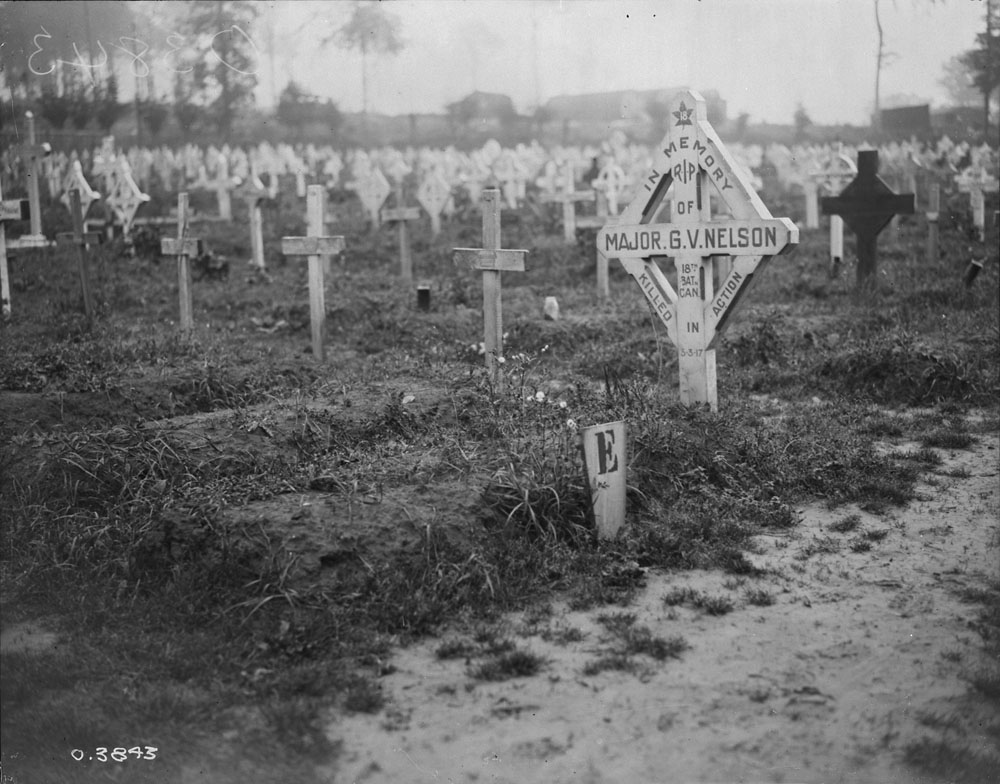 Temporary Grave Marker– Grave of Major GV Nelson 18th Can Infantry Battalion in July 1918.