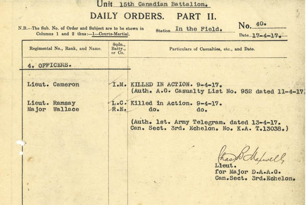 Part II orders– Pt II Orders 15th Bn dated 17 April 1917 noting Lt Ramsay's death.  Submitted by 15th Bn Memorial Project Team courtesy 48th Highlanders of Canada Regimental Museum.  DILEAS GU BRATH