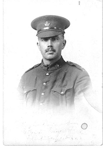 """Photo of Ralph Raymond– This picture was in my Grandmother , Helen S. Raymond's photo album.  On the back she had written """"""""Died in the last great war.  Gave his live for his country and his remains were not allowed to be brought home."""""""