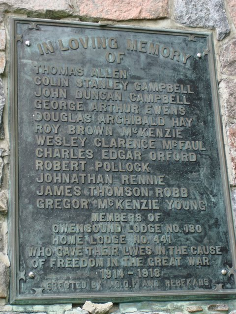 Memorial Plaque– Owen Sound Ontario Cenotaph