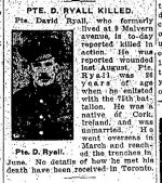 Newspaper Clipping– From the Toronto Star for 21 February 1917.