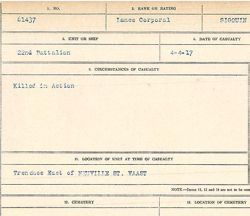 Circumstances of death registers– Lance Corporal Antoine Sigouin