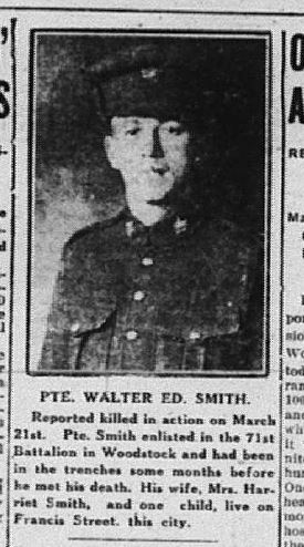 Newspaper clipping– Daily Sentinel-Review. April 10, 1917. Page 1. Contributed by E.Edwards www.18thbattalioncef.wordpress.com