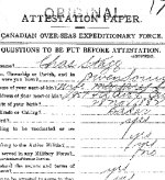 Attestation Papers– Attestation paper, page 1, for Charles Stagg of Owen Sound, Ontario.
