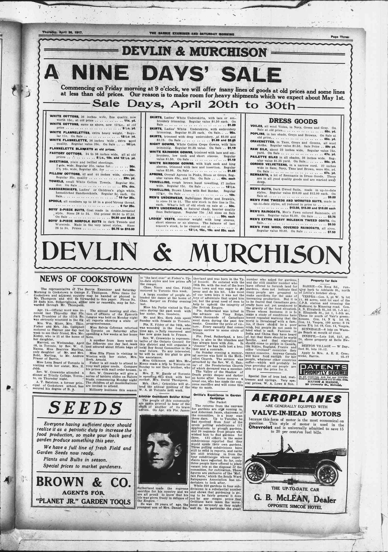 Newspaper– Barrie Examiner newspaper photo 26 Apr 1917
