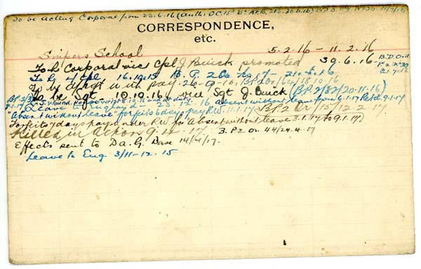 Record of Service– Record of Service Card (reverse side).  From archives 48th Highlanders of Canada Regimental Museum.  Submitted by 15th Bn Memorial Project Team.  DILEAS GU BRATH