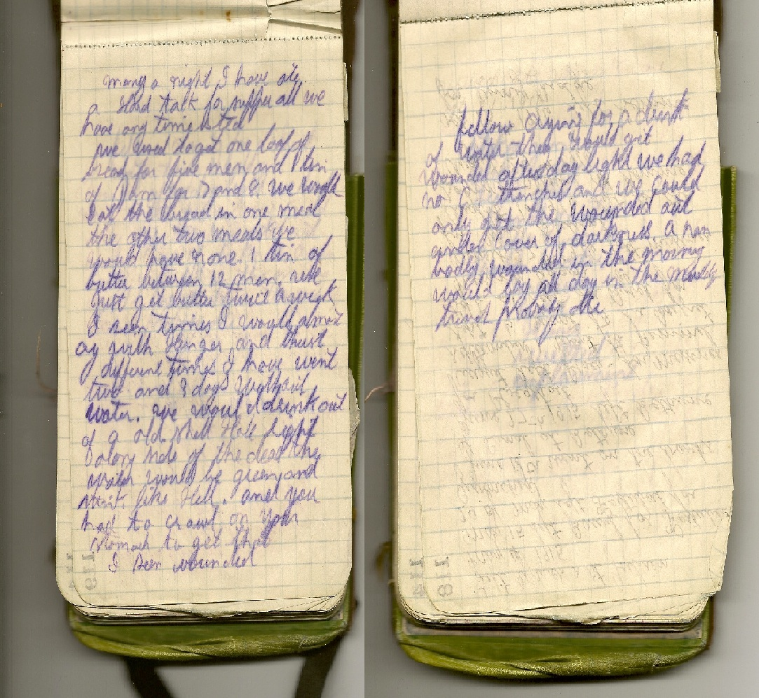 War Diary– Entry in Fred Wade's war diary (army book) ca. 1916 concerning lack of food and water and difficulty getting the wounded.