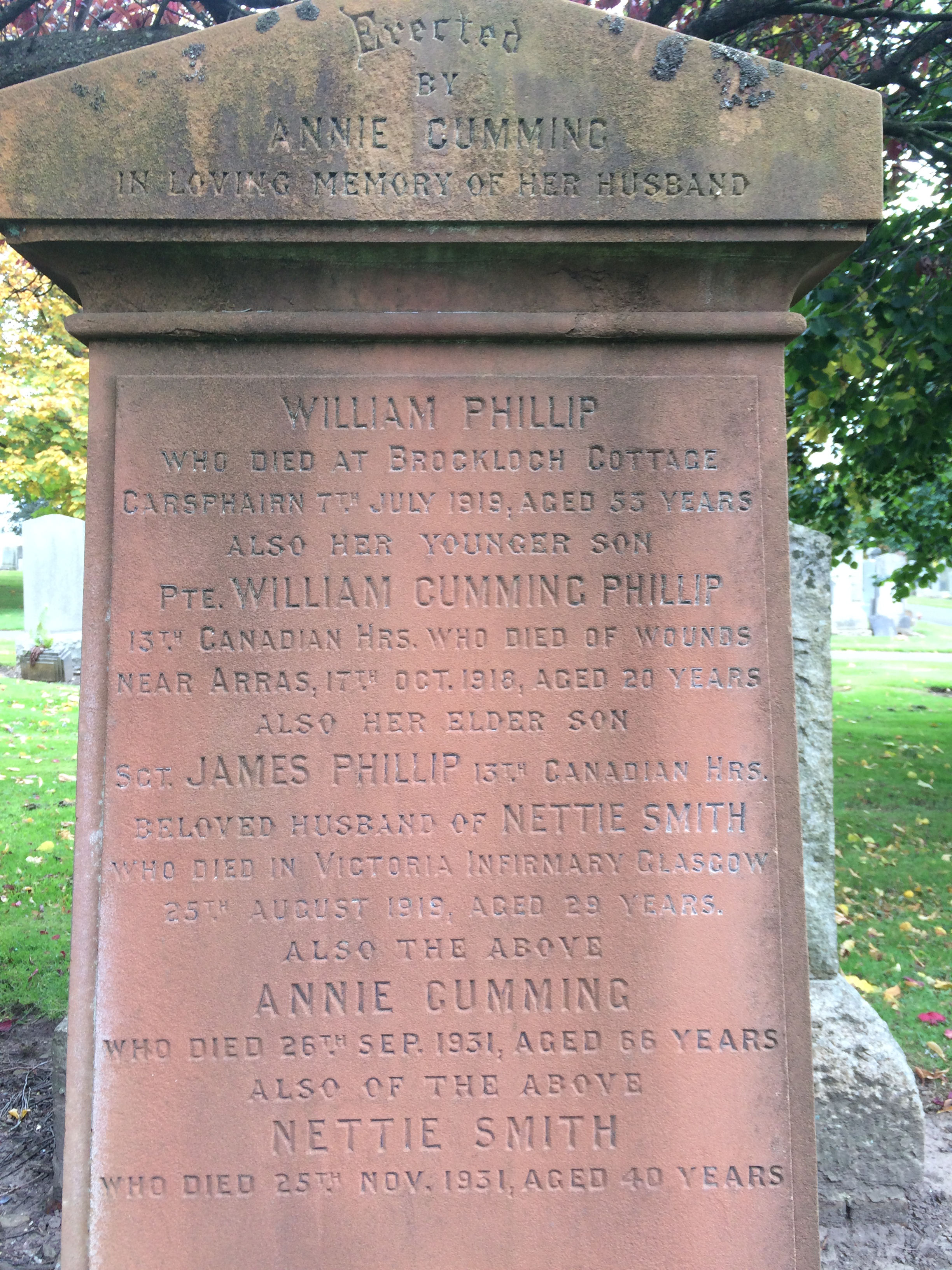Family Memorial– Headstone of the Phillip family in Ayr, Scotland, showing the names of James Phillip and his only brother William, both of whom died of injuries sustained in World War One.