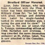 Newspaper Clipping– Lt. John Youngs was awarded the Military Cross in 1916.