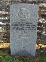 Grave marker– 443357 Privat George Henry Mac Leod 54th BN. Canadian INF. Died 25th December 1915 Age 41