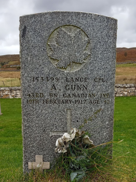 Grave marker– 43rd battalion. Cameron Highlanders of Canada. Manitoba Regiment.
