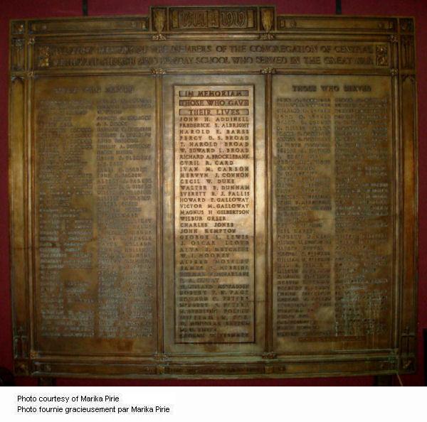 Central Methodist Memorial Tablet
