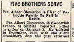 Newspaper Clipping– In honoured memory of the Cleverdon brothers.