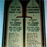 Memorial Tablet– Alan Stanley Clark Roger's name is included on this memorial tablet in St. John's Anglican Church on 288 Humberside Avenue in West Toronto.    Photo taken in May 2003.