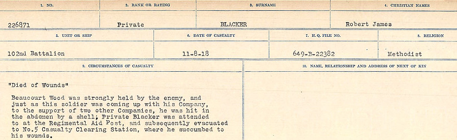 Circumstances of Death Registers– Source: Library and Archives Canada.  CIRCUMSTANCES OF DEATH REGISTERS FIRST WORLD WAR Surnames: Birch to Blakstad. Mircoform Sequence 10; Volume Number 31829_B034746; Reference RG150, 1992-93/314, 154 Page 469 of 734