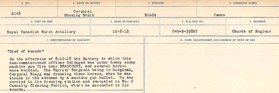 Circumstances of Death Registers– Source: Library and Archives Canada.  CIRCUMSTANCES OF DEATH REGISTERS FIRST WORLD WAR Surnames: Birch to Blakstad. Mircoform Sequence 10; Volume Number 31829_B034746; Reference RG150, 1992-93/314, 154 Page 565 of 734