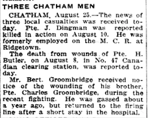 Newspaper clipping– From the London Free Press August 1918. Submitted for the project Operation Picture Me