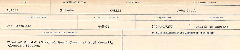 Circumstances of Death Registers– Source: Library and Archives Canada.  CIRCUMSTANCES OF DEATH REGISTERS, FIRST WORLD WAR Surnames:  CORBI TO COZNI.  Microform Sequence 23; Volume Number 31829_B016732. Reference RG150, 1992-93/314, 167.  Page 205 of 900.