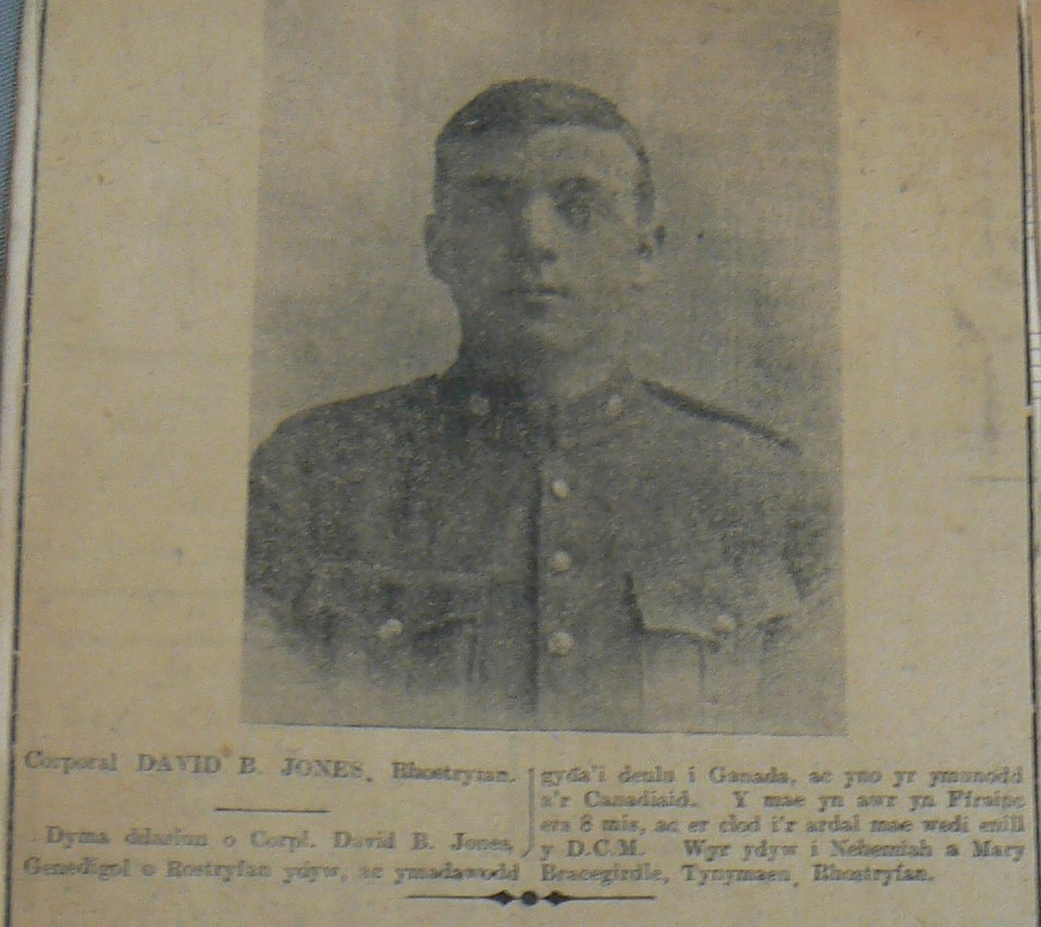 Photo of DAVID BRACEGIRDLE JONES– D.B.Jones RFC/RAF, an image of him as a Corporal/Sergt. in the Cavalry Brigade Signals.  Photographed by myself from a news cutting in a WW11 era scrapbook (from a currently unidentified Welsh-language newspaper).  Won DCM (Jany. 1916)