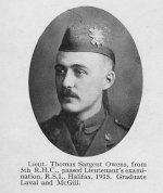"Photo of Thomas Owens– Photo taken from ""A Short History and Photographic Record of the 73rd Battalion, Canadian Expeditionary Force, Royal Highlanders of Canada"" .  Page 7.  OFFICERS OF 'B' COMPANY"