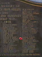 Cenotaph– Lance Corporal Frederick Palmer is also commemorated on the WWI cenotaph in Orillia, ON … photo courtesy of Marg Liessens