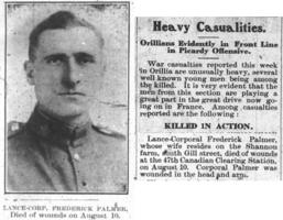 Newspaper clipping– Orillia Times, 22 Aug 1918.  The photo appeared in the 05 Sep 1918 issue.