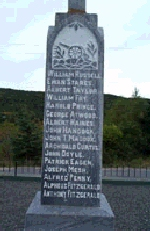 Monument in Summerville– William Fry is commemorated on this monument in Summerville, Newfoundland.