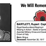 "Photo of RUPERT W BARTLETT– In memory of the men and women from Newfoundland who went away to war and did not come home. From the Newfoundland Legion magazine ""Lest We Forget"". Submitted for the project, Operation Picture Me"