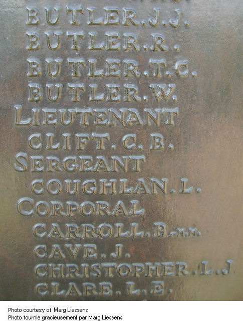 Inscription sur le Mémorial de Beaumont-Hamel