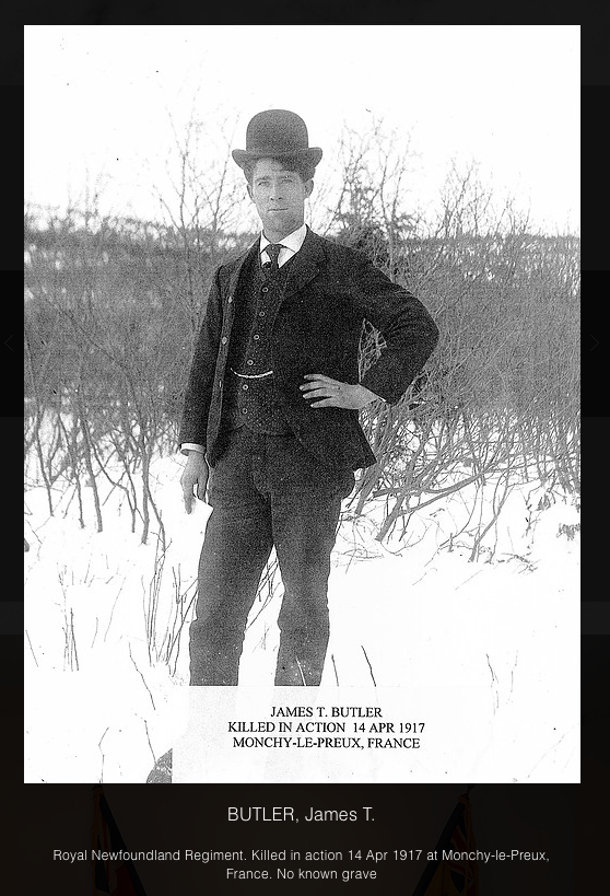 Photo of JAMES BUTLER– In memory of the men and women from the Clarenville, Newfoundland area who went away to war and did not come home. Submitted on behalf of the Clarenville Legion (Branch 27) for the project, Operation Picture Me