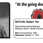 "Photo of ROBERT BUTLER– In memory of the men and women from Newfoundland who went away to war and did not come home. From the Newfoundland Legion magazine ""Lest We Forget"". Submitted for the project, Operation Picture Me"